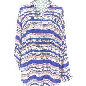 Relativity Striped Button Down Shirt 2X NWT